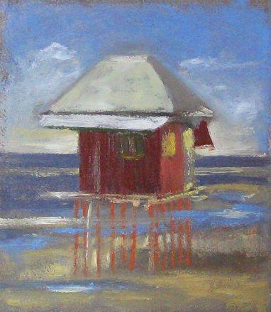 House on Stilts, Kamaina, Irian Jaya, Papua  Oil on paper painted on location in Kaimana, Papua