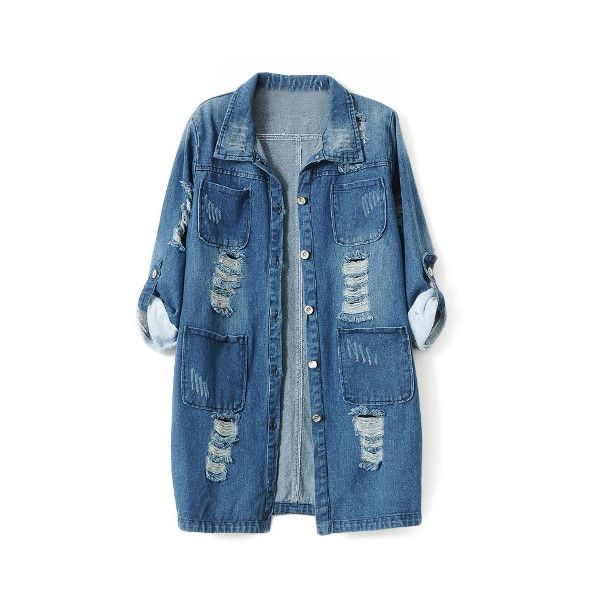 Chicnova Fashion Lapel Collar Ripped Denim Coat (135 BRL) ❤ liked on Polyvore featuring outerwear, coats, jackets, tops, lapel coat, blue coat, denim coat, long sleeve coat and collar coat
