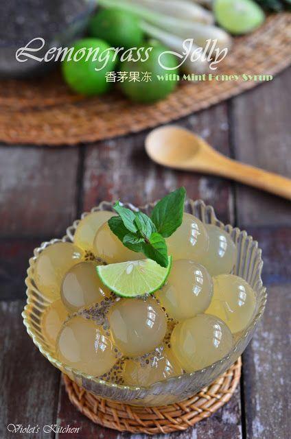 香茅果冻 Lemongrass Jelly with Mint Honey Syrup