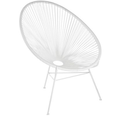 Acapulco chair and table as outdoor setting in white (note available from Big W Jamie Durie range)