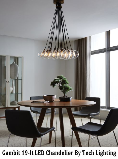 The Gambit 19-lt LED multiport chandelier exudes undeniable beauty and warm contemporary style through its bold use of high end mixed materials and retro-inspired.