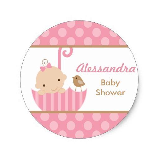 Pegatinas rosados de la ducha de la niña del pegatina redonda