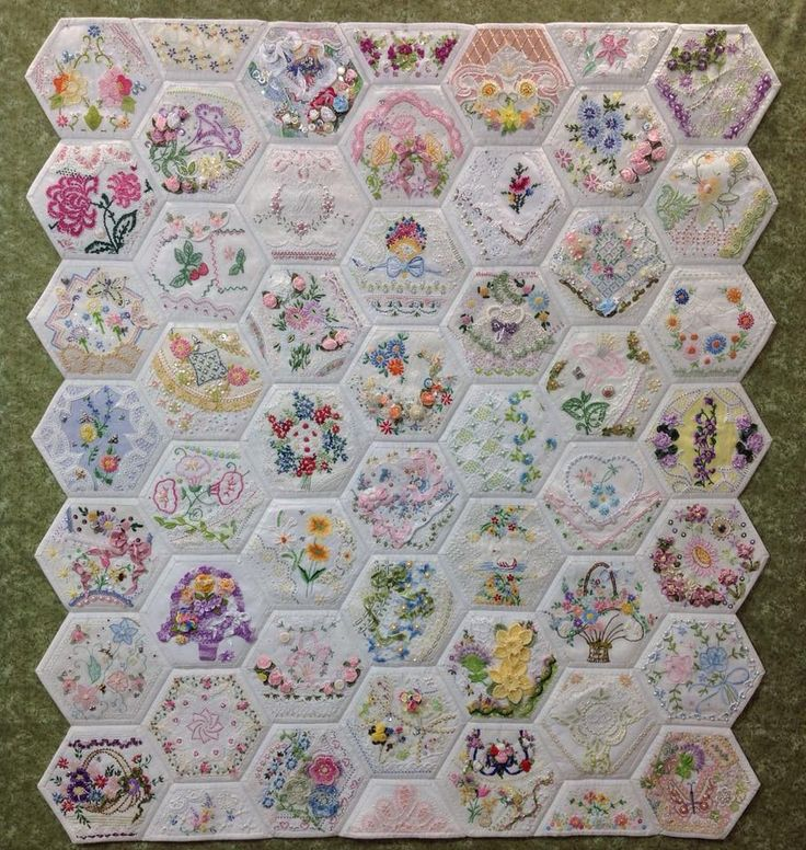 Hexagons I ❤ embroidered quilts . . . Finished . . . I started this 36 in. by 40 in. project in May, 2014 and finished it July 4, 2015. ~By Rhonda Cox Dort