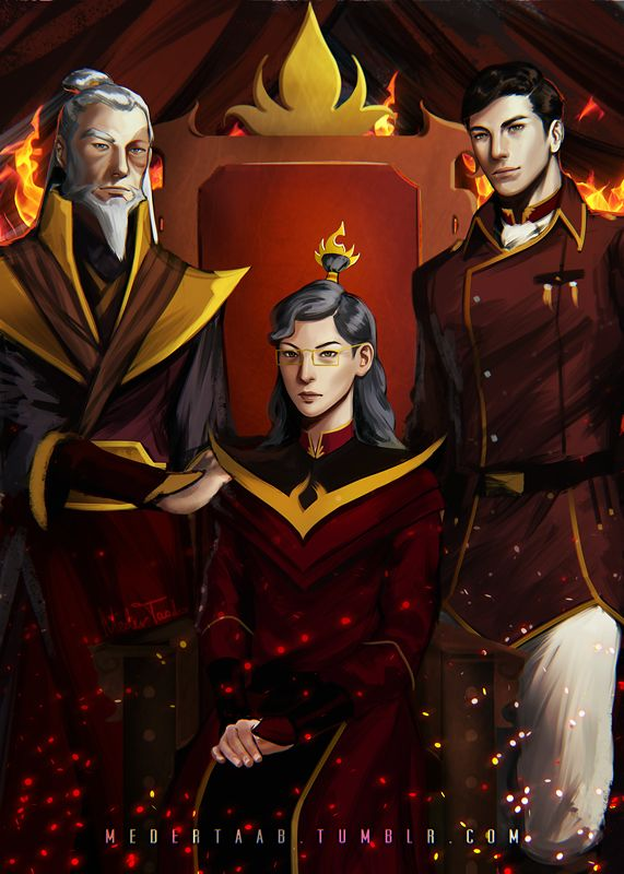 Zuko, his daughter the Fire Lord, and his grandson General Iroh