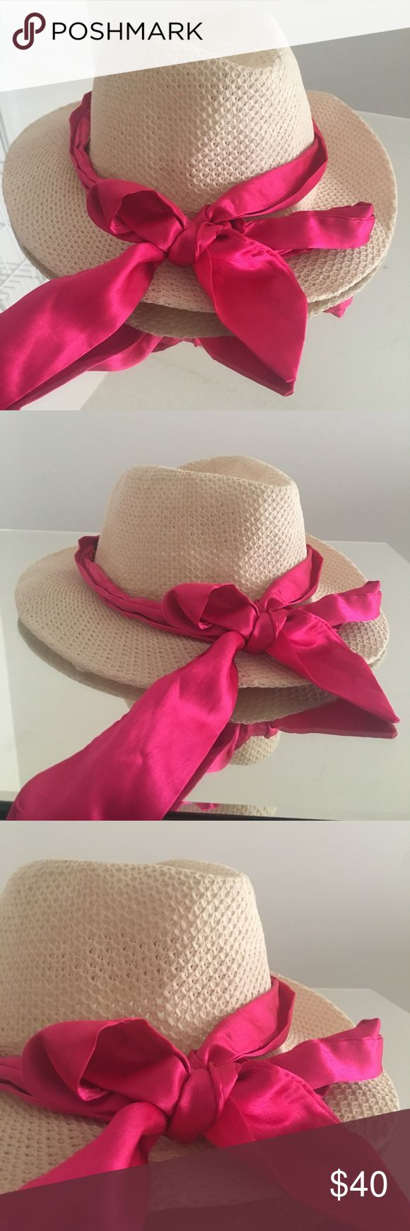 🌴🇨🇴 Cartagena Beach Fedora Hat from Colombia Perfect hat for the beach or sun to protect your hair / head. This also goes well with sunnies. Bought this in Colombia on my last day in Colombia while traveling but never wore it.  Does not come with the pink bow. I just tied that for styling purposes 💖  New - never worn! Didn't really have tags. Accessories Hats