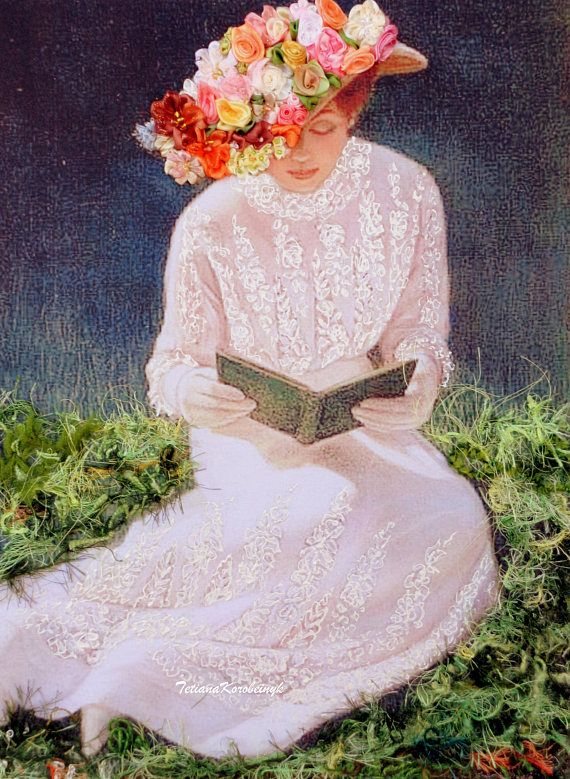 """Ricamo con nastro,quadro """"Dama con il libro"""", ricamato a mano, Silk ribbon embroidery, cappello con i fiori, erba ricamata, fiori ricamati"""