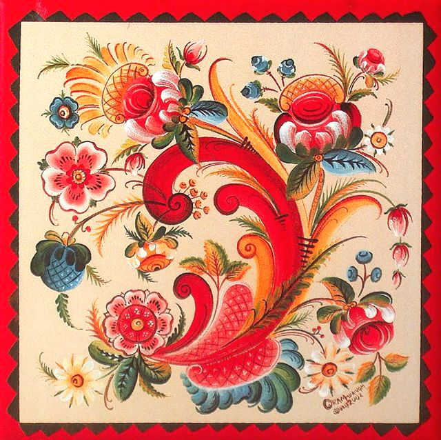 Rosemaling (Norwegian folk painting) is the perfect combination of bold and dainty. It is so cheerful.
