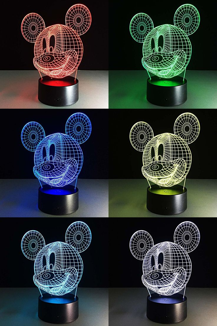 [Visit to Buy] Mickey Mouse 3D Visual Led Sleeping Nightlight Touch USB Table Lampara Illusion Mood Dimming Lamp Atmosphere 7 Colors GZ0215 #Advertisement