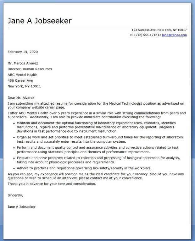 Medical Technologist Cover Letter Examples Creative