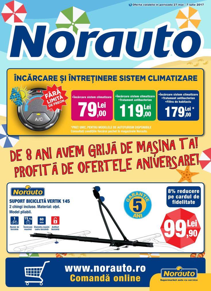 Catalog Norauto 27 Mai - 07 Iulie 2017! Oferte: suport bicicleta Vertik 145, 2 chingi incluse, 99,90 lei; ulei Castrol Magnatec A3/B4 4L 95,90 lei