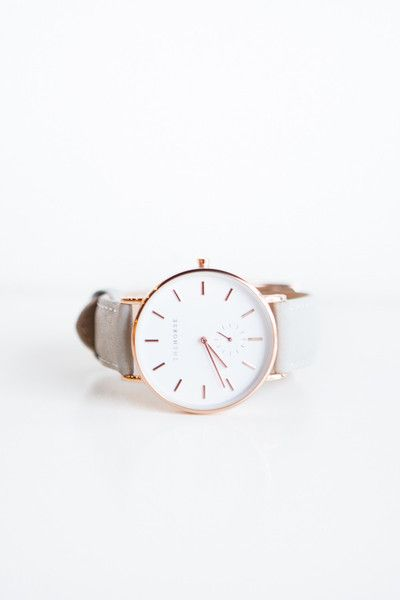 The Horse Classic Leather Watch - White Face, Leather Grey Band A simple take on the classic time-teller. Featuring a rose gold stainless steel case, white face with rose gold markers and premium leat