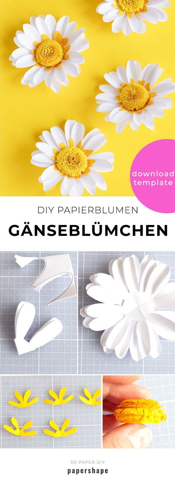 Gänseblümchen basteln: 3 frühlingshafte DIY-Ideen   – Basteln mit Papier – Papershape Vorlagen