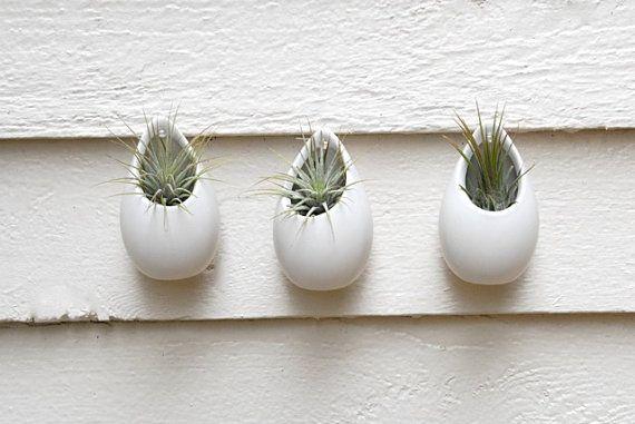 Set of 3 Mini Matte White Ceramic Hanging Planters, Wall Hanging Planters, Air Plant Hanging Planters, Hanging Ceramic Vases, Modern Vases on Etsy