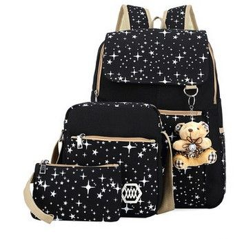 4 Colors Backpacks Brand 3 pieces Sets Women Backpack Star Printing Canvas School Bags for Teenager Girls Shoulder Bag WL1006