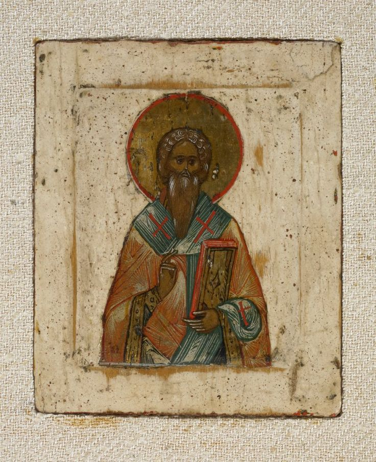 St Basil, from triptych with Christ, St Basil the Great (?) and St Blaise (?); triptych; painting; icon; 19thC; Russia.  © The Trustees of the British Museum
