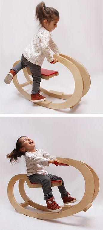 Hermoso y moderno balancín en madera para niños , nos encantaaa!!