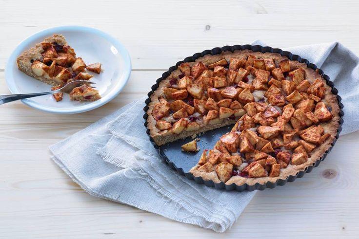 Kijk wat een lekker recept ik heb gevonden op Allerhande! Suikervrije appeltaart met havermout en cranberry's