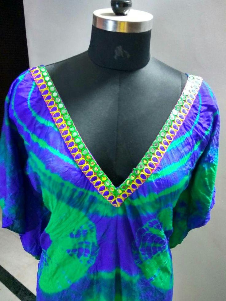 Beautiful hand dyed n hand made tie dye kaftans. Contact us at seematewatia2112@gmail.com