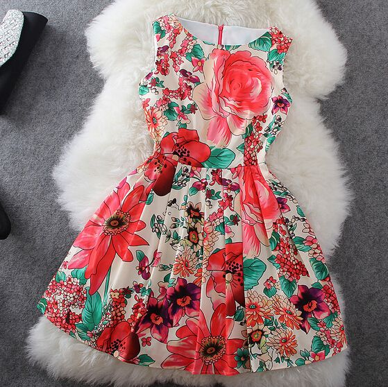 Flower Print Sleeveless Dress #092724AD