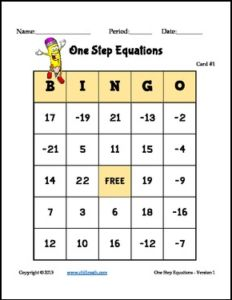 "FREE MATH LESSON – ""One Step Equations: Bingo Game – FREE"" - Go to The Best of Teacher Entrepreneurs for this and hundreds of free lessons.  7th - 10th Grade    #FreeLesson     #Math    http://thebestofteacherentrepreneursmarketingcooperative.net/free-math-lesson-one-step-equations-bingo-game-free/"