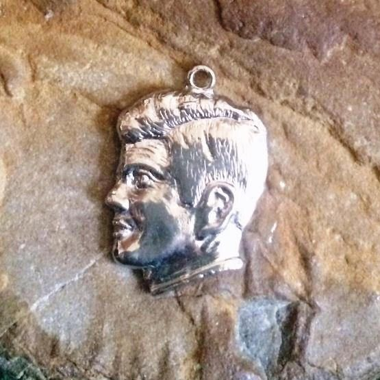 "This unique & cool JFK charm has his famous Inaugural address on the back - ""Ask not what your country can do for you, but what you can do for your country.""  Vintage John F Kennedy Charm  JFK Charm  Sterling Silver"