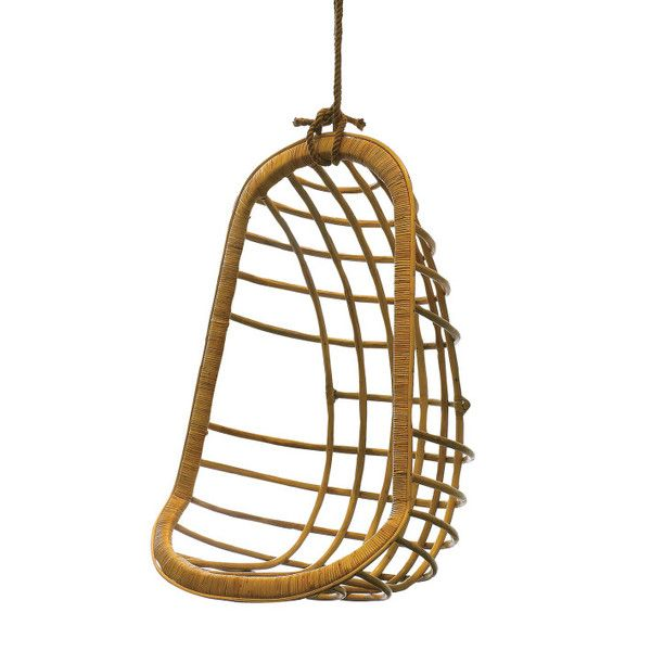 """Hanging Rattan Chair (includes hanging rope and clamp)""""This awesome Hanging Rattan Chair serves as a relaxing way to literally """"hang loose."""" The rattan stems pr"""