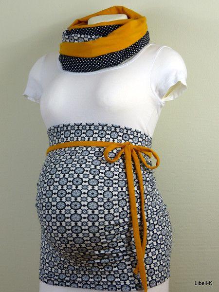 Bauchbänder - Bauchband Loop Set - Senfgelb, schwarz - ein Designerstück von Libell-K bei DaWanda