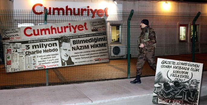 Bezpečnostní opatření před sídlem novin Cumhuriyet