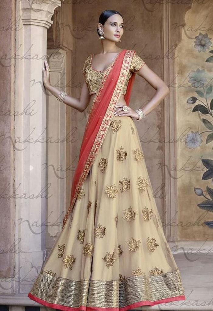 Designer Wedding Lehenga Choli Made with Net Fabric at www.fashionsbyindia.com #Lehenga