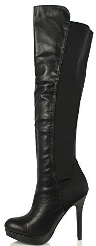 Delicious Women's Venga Faux Leather Over The Knee High Heel Boots, Black, 55 M US