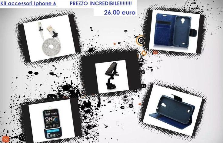 Kit accessori per iPhone 6 - Cavo usb /Supporto auto/VetroTemperato/Custodia blu