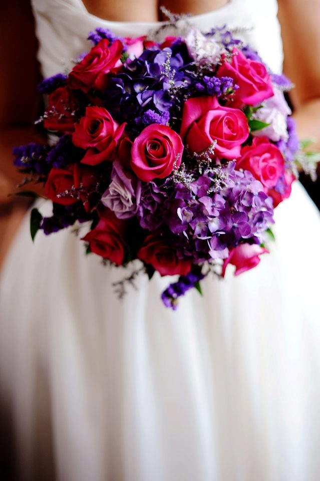 Blue Purple And Pink Wedding Bouquets My Bouquet Hot Roses Hydrangea