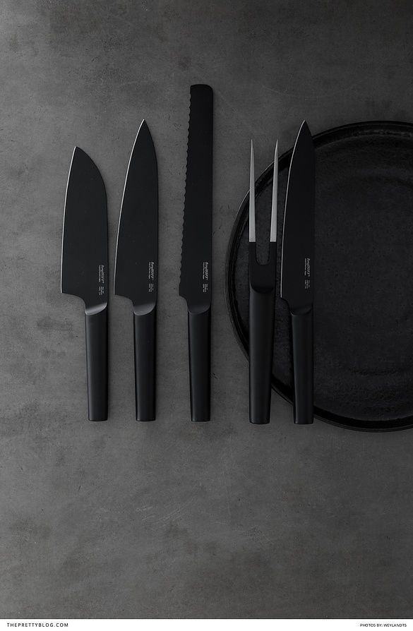 Black-on-black kitchen inspiration with beautiful black knives and earthy black ceramics