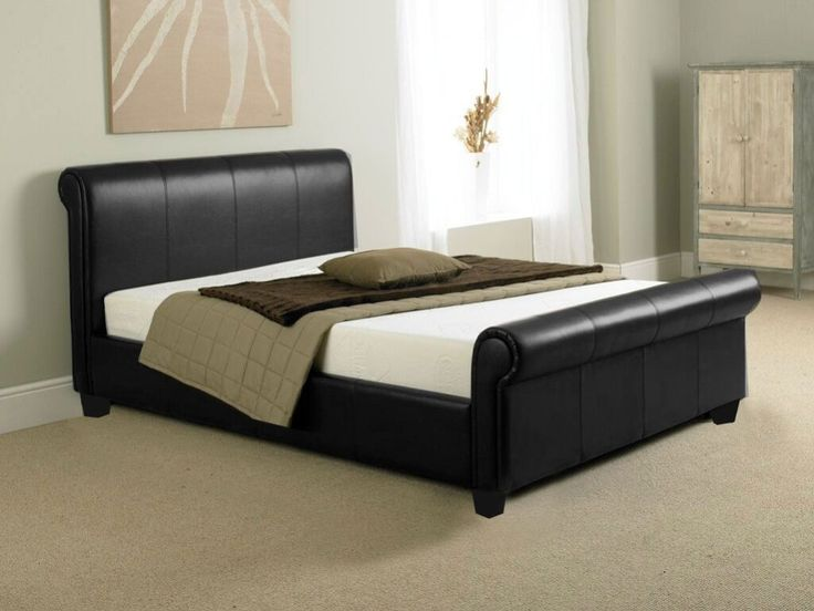 Black Faux Leather Double Sleigh Bed Frame