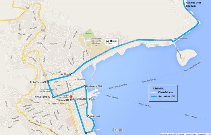 Mapa de Ruta 10K de la Carrera Electro Puno 2015