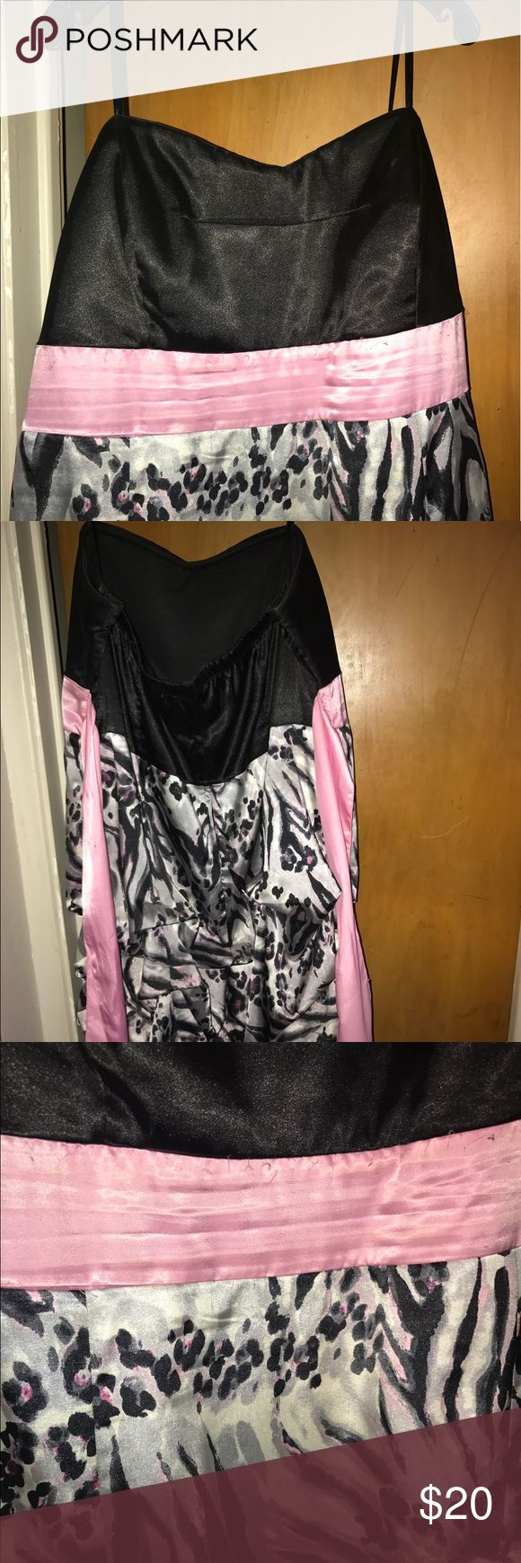Party dress from Deb shops with silky material! Pretty cheetah print and pink! Deb Dresses Midi