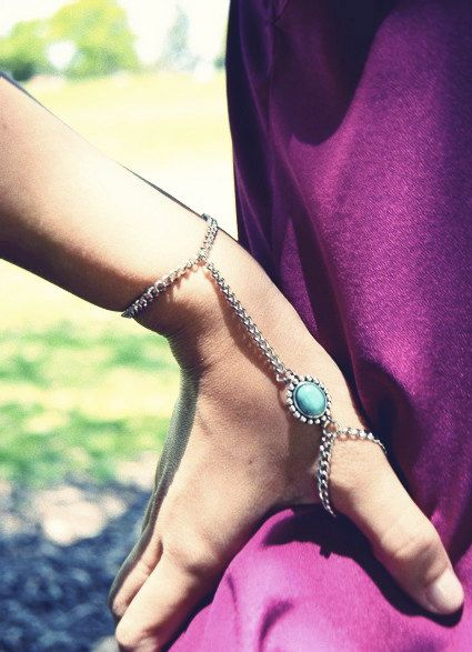 Turquoise Thumb Slave Bracelet Handchain Chain by francisfrank, $16.00, I'm in love♡