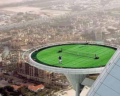 Dubai Tennis court – I guess a high lob is a good shot to have. :)