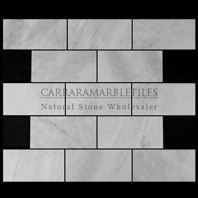 White Carrara Marble Italian Bianco Carrera 3x6 Subway Tile Honed