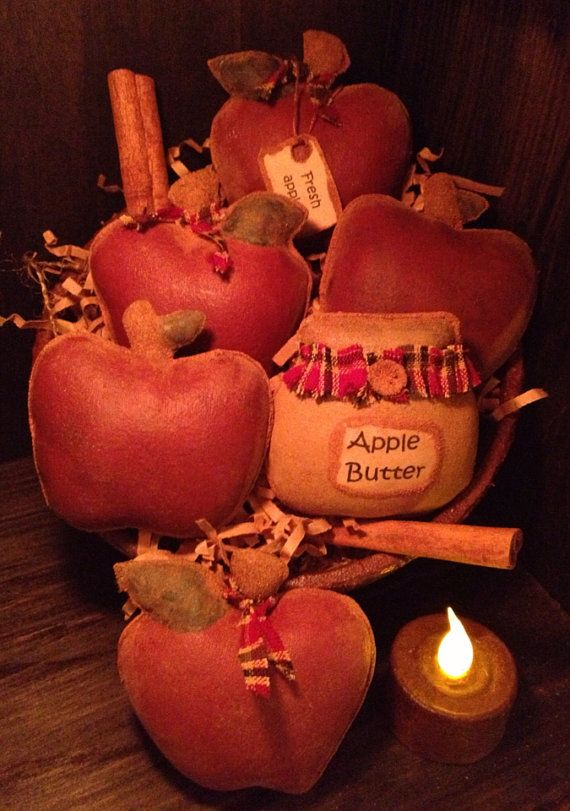 Primitive Apple Bowl Fillers by Countrybabiesusa on Etsy