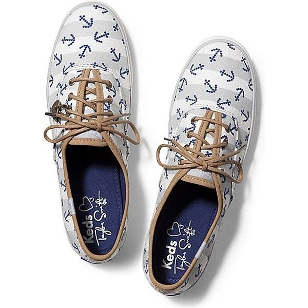 Keds TAYLOR SWIFT'S CHAMPION ANCHOR ($55) ❤ liked on Polyvore featuring shoes, sneakers, anchor white grey, white sneakers, white trainers, keds, gray sneakers and stretch sneakers