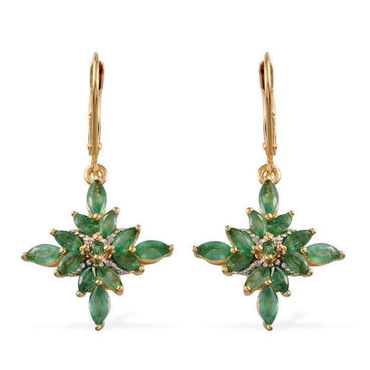 Kagem Zambian Emerald (Mrq), Diamond Lever Back Earrings in 14K Gold Overlay Sterling Silver 2.400 Ct. 2130909