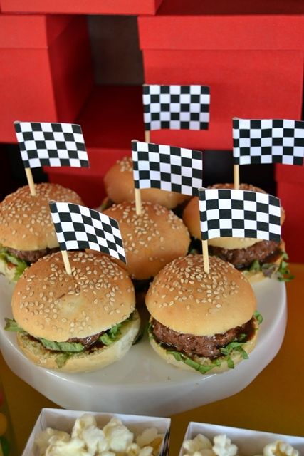 Mini Gourmet Burgers with Black & White Check Flags