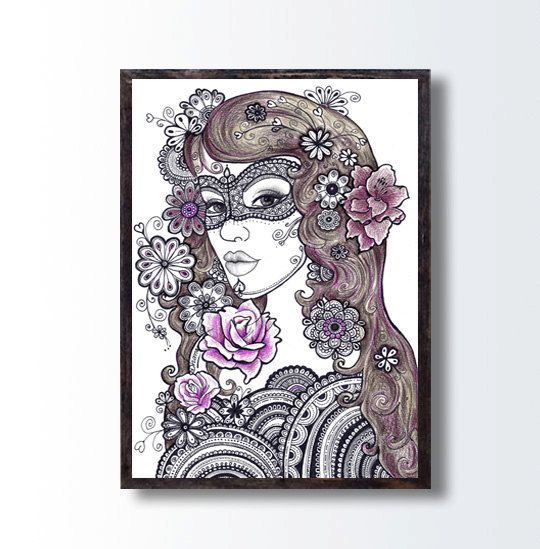 Zentangle Floral Art, Girl Pencil Drawing, INSTANT Download, Living Room Wall Decor, Flowers Mandala Drawing, Boho Wall Decor, Tattoo Design by DHANAdesign on Etsy