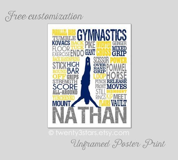 Men's Gymnastics 2 Typography Art Print Boy's Room by twenty3stars