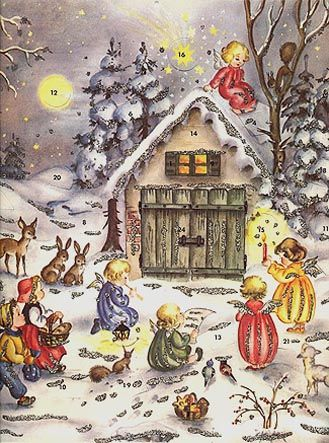 German Advent Calendar -  open one little door from Dec.1 until Christmas Eve and see a special picture or short Bible verse.
