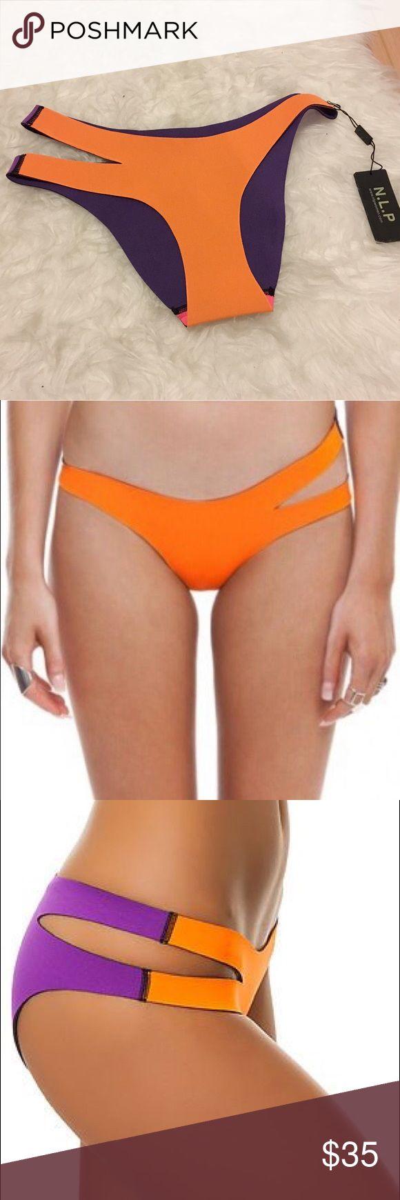 N.L.P cut out swim bottom Brand new with tag. Size SMALL. Back of the bikini is purple. ❌NO TRADES❌ NLP Swim Bikinis