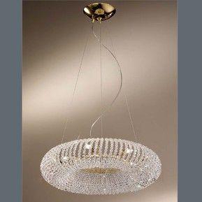 Gouden hanglamp CARLA met versieringen van kristal