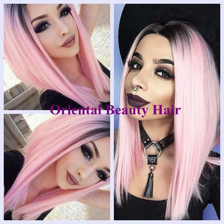 Kostenloser versand sexy two tone ombre schwarz rosa farbe kurze BoB stil hitzebeständige perücke synthetische lace front perücke