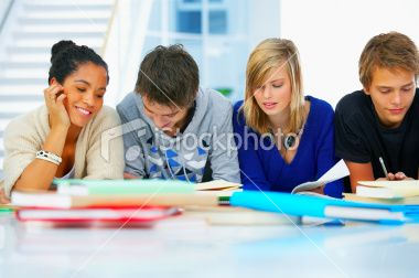High school students studying in a group Royalty Free Stock Photo